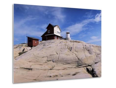 The Lighthouse on Stora Svangen, off the Island of Reso, Bohuslan, Sweden, Scandinavia-Kim Hart-Metal Print