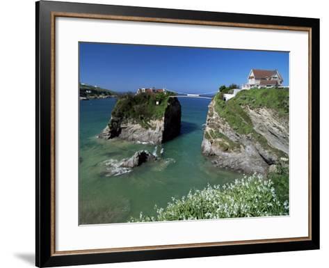 The Island off Towan Beach, Newquay, Cornwall, England, United Kingdom-Robert Francis-Framed Art Print