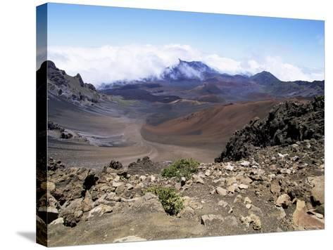 Cinder Cone and Iron-Rich Lava Weathered to Brown Oxide in the Crater of Haleakala-Robert Francis-Stretched Canvas Print