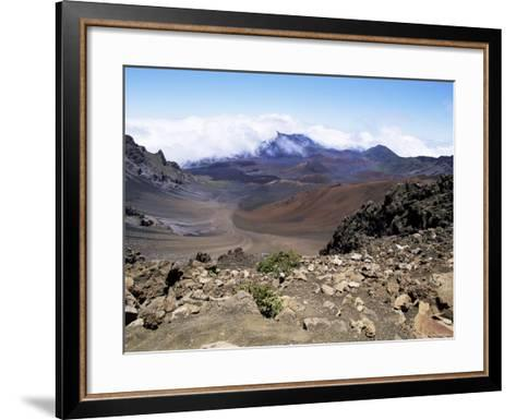 Cinder Cone and Iron-Rich Lava Weathered to Brown Oxide in the Crater of Haleakala-Robert Francis-Framed Art Print