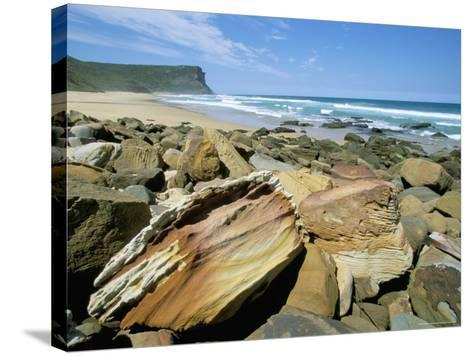 Eroded Sandstone Boulders at Garie Beach in Royal National Park, New South Wales, Australia-Robert Francis-Stretched Canvas Print