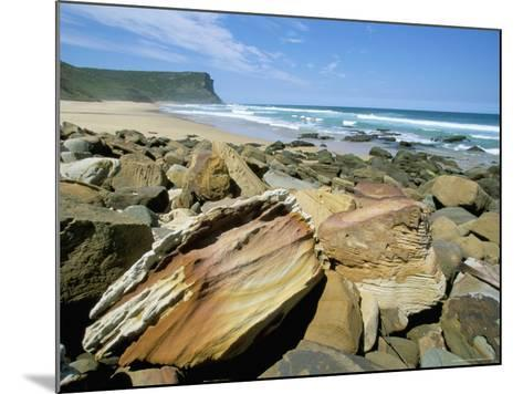Eroded Sandstone Boulders at Garie Beach in Royal National Park, New South Wales, Australia-Robert Francis-Mounted Photographic Print