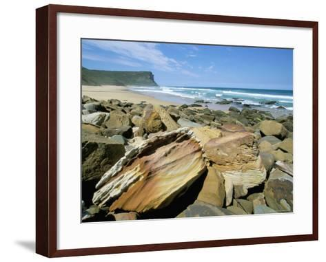 Eroded Sandstone Boulders at Garie Beach in Royal National Park, New South Wales, Australia-Robert Francis-Framed Art Print