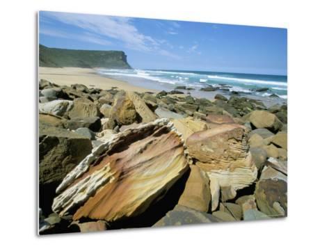 Eroded Sandstone Boulders at Garie Beach in Royal National Park, New South Wales, Australia-Robert Francis-Metal Print