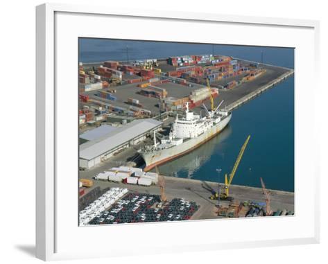 Container Terminal and Cargo Ship, Salerno, Campania, Italy, Mediterranean-Robert Francis-Framed Art Print