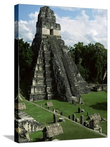 Temple of the Great Jaguar in the Grand Plaza, Mayan Ruins, Tikal, Peten-Robert Francis-Stretched Canvas Print