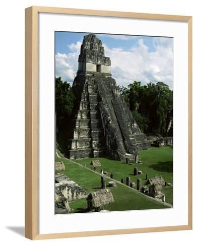 Temple of the Great Jaguar in the Grand Plaza, Mayan Ruins, Tikal, Peten-Robert Francis-Framed Art Print