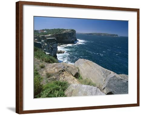 View from South Head Towards North Head at the Entrance to Sydney Harbour-Robert Francis-Framed Art Print