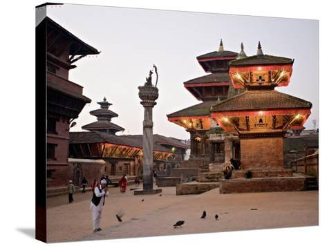 Morning Worship, Durbar Square, Unesco World Heritage Site, Patan, Kathmandu, Nepal-Don Smith-Stretched Canvas Print
