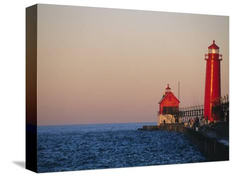 Grand Haven Lighthouse on Lake Michigan, Grand Haven, Michigan, USA-Michael Snell-Stretched Canvas Print