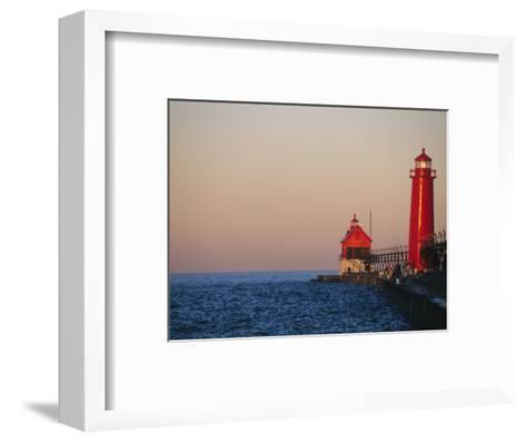 Grand Haven Lighthouse on Lake Michigan, Grand Haven, Michigan, USA-Michael Snell-Framed Art Print