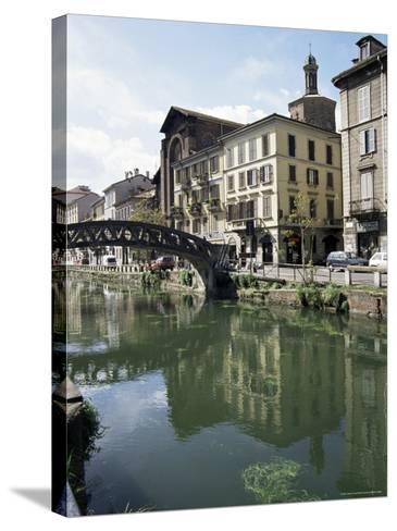 Canal at Porta Ticinese, Naviglio Grande, Milan, Lombardy, Italy-Sheila Terry-Stretched Canvas Print