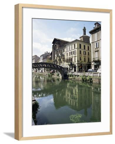 Canal at Porta Ticinese, Naviglio Grande, Milan, Lombardy, Italy-Sheila Terry-Framed Art Print