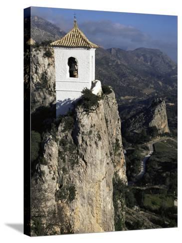 Bell Tower in Village on Steep Limestone Crag, Guadalest, Costa Blanca, Valencia Region, Spain-Tony Waltham-Stretched Canvas Print