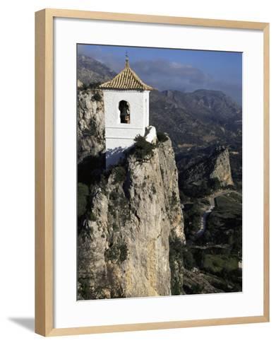Bell Tower in Village on Steep Limestone Crag, Guadalest, Costa Blanca, Valencia Region, Spain-Tony Waltham-Framed Art Print