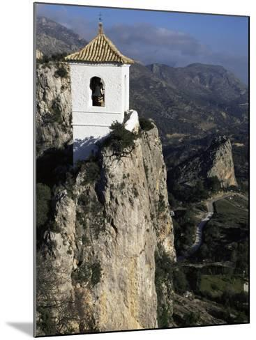 Bell Tower in Village on Steep Limestone Crag, Guadalest, Costa Blanca, Valencia Region, Spain-Tony Waltham-Mounted Photographic Print