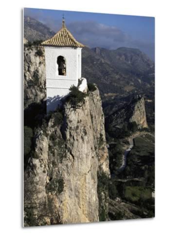 Bell Tower in Village on Steep Limestone Crag, Guadalest, Costa Blanca, Valencia Region, Spain-Tony Waltham-Metal Print