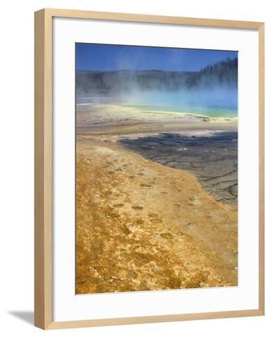 Geyserite Terraces Coloured by Algal Mats, Midway Geyser Basin, Unesco World Heritage Site-Tony Waltham-Framed Art Print