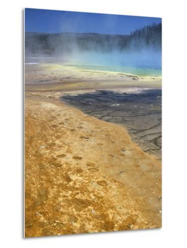 Geyserite Terraces Coloured by Algal Mats, Midway Geyser Basin, Unesco World Heritage Site-Tony Waltham-Metal Print