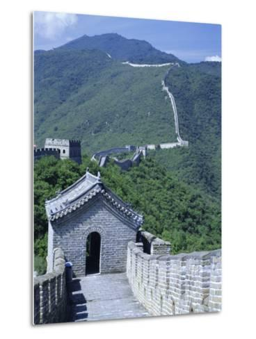 Restored Section with Watchtowers of the Great Wall, Northeast of Beijing, Mutianyu, China-Tony Waltham-Metal Print