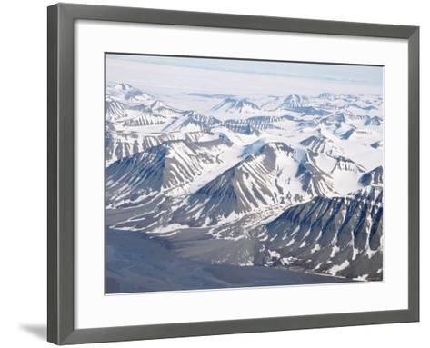 Glaciers and Nunateks of Winsnesfjelle, Torrell Land, Spitsbergen, Svalbard, Arctic, Norway-Tony Waltham-Framed Art Print