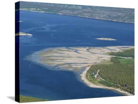 Delta of Sand at River Mouth, Kvaenangen Sorfjord, North Norway, Scandinavia-Tony Waltham-Stretched Canvas Print