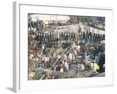 Municipal Laundry, Mahalaxmi Dhobi Ghat, Mumbai (Bombay), India-Tony Waltham-Framed Art Print