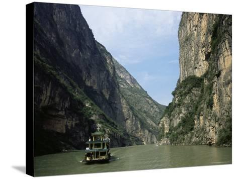 Tourist Boat in the Longmen Gorge, First of the Small Three Gorges, Yangtze Gorges, China-Tony Waltham-Stretched Canvas Print