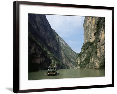 Tourist Boat in the Longmen Gorge, First of the Small Three Gorges, Yangtze Gorges, China-Tony Waltham-Framed Art Print