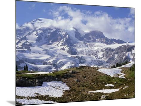 Nisqually Glacier in Foreground, with Mount Rainier, the Volcano Which Last Erupted in 1882, Beyond-Tony Waltham-Mounted Photographic Print