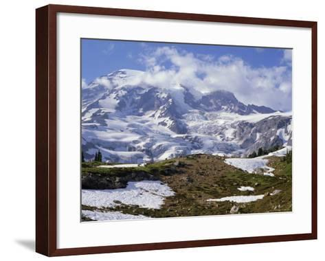 Nisqually Glacier in Foreground, with Mount Rainier, the Volcano Which Last Erupted in 1882, Beyond-Tony Waltham-Framed Art Print