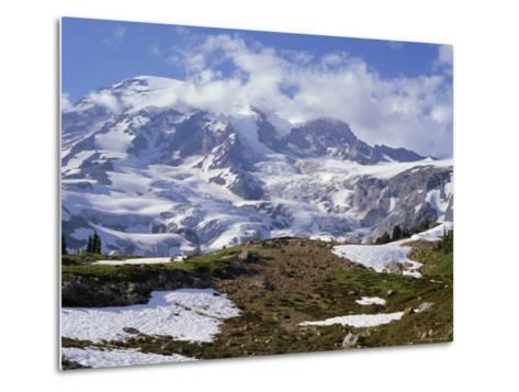Nisqually Glacier in Foreground, with Mount Rainier, the Volcano Which Last Erupted in 1882, Beyond-Tony Waltham-Metal Print
