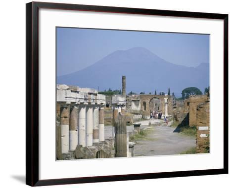 Vesuvius Volcano from Ruins of Forum Buildings in Roman Town, Pompeii, Campania, Italy-Tony Waltham-Framed Art Print