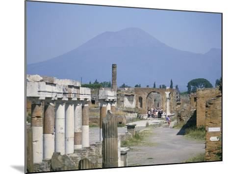 Vesuvius Volcano from Ruins of Forum Buildings in Roman Town, Pompeii, Campania, Italy-Tony Waltham-Mounted Photographic Print