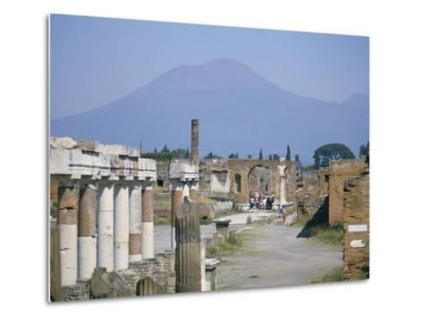 Vesuvius Volcano from Ruins of Forum Buildings in Roman Town, Pompeii, Campania, Italy-Tony Waltham-Metal Print