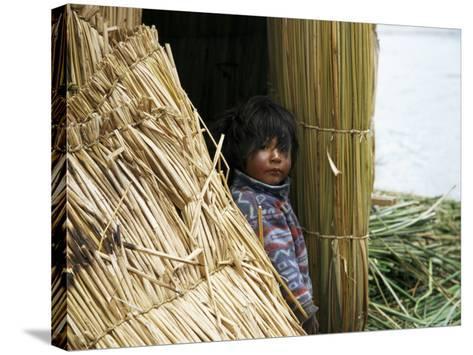 Little Boy, Uros Floating Reed Island, Lake Titicaca, Peru, South America-Jane Sweeney-Stretched Canvas Print