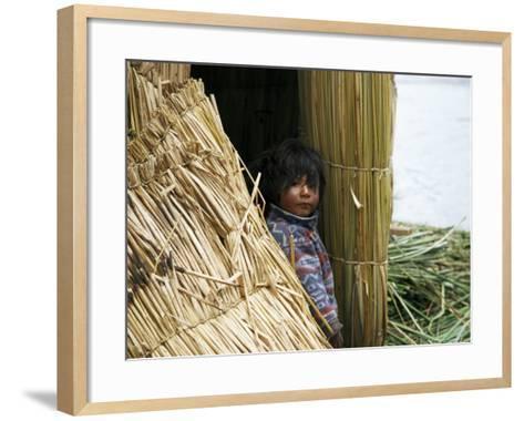 Little Boy, Uros Floating Reed Island, Lake Titicaca, Peru, South America-Jane Sweeney-Framed Art Print