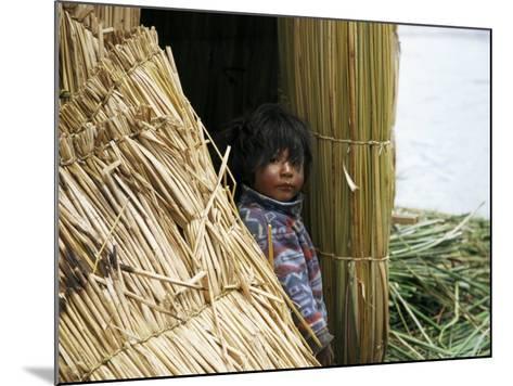 Little Boy, Uros Floating Reed Island, Lake Titicaca, Peru, South America-Jane Sweeney-Mounted Photographic Print