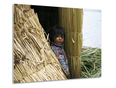 Little Boy, Uros Floating Reed Island, Lake Titicaca, Peru, South America-Jane Sweeney-Metal Print