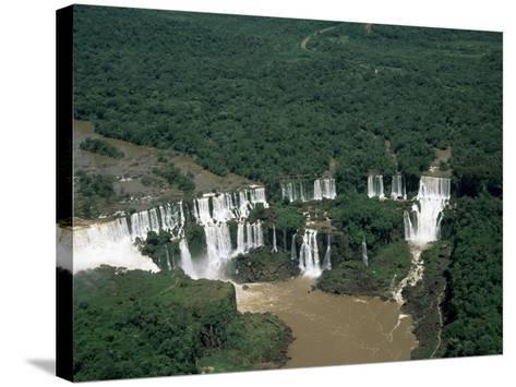 Aerial View of the Iguassu Falls, Iguassu National Park, Unesco World Heritage Site, Parana, Brazil-Jane Sweeney-Stretched Canvas Print