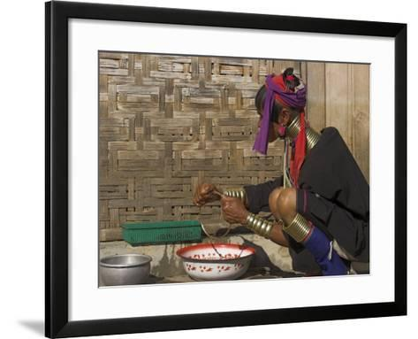 Padaung Lady Washing Brass Band, Shan State, Myanmar (Burma)-Jane Sweeney-Framed Art Print