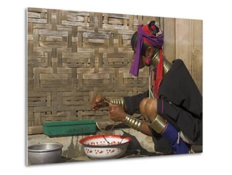 Padaung Lady Washing Brass Band, Shan State, Myanmar (Burma)-Jane Sweeney-Metal Print