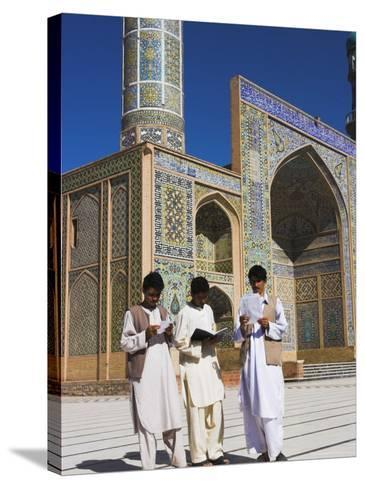 Men Reading in Front of the Friday Mosque or Masjet-Ejam, Herat, Afghanistan-Jane Sweeney-Stretched Canvas Print