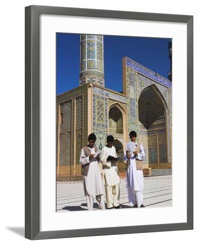 Men Reading in Front of the Friday Mosque or Masjet-Ejam, Herat, Afghanistan-Jane Sweeney-Framed Art Print