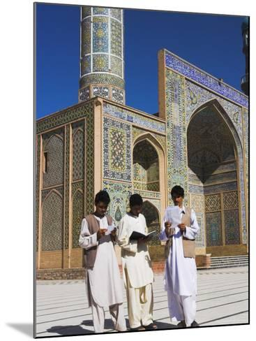 Men Reading in Front of the Friday Mosque or Masjet-Ejam, Herat, Afghanistan-Jane Sweeney-Mounted Photographic Print