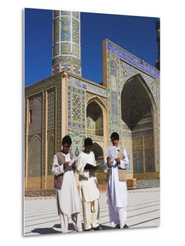 Men Reading in Front of the Friday Mosque or Masjet-Ejam, Herat, Afghanistan-Jane Sweeney-Metal Print
