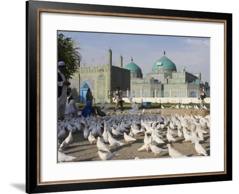 People Feeding the Famous White Pigeons, Mazar-I-Sharif, Afghanistan-Jane Sweeney-Framed Art Print