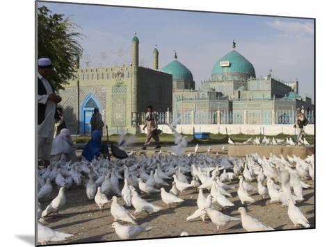 People Feeding the Famous White Pigeons, Mazar-I-Sharif, Afghanistan-Jane Sweeney-Mounted Photographic Print