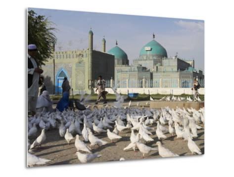 People Feeding the Famous White Pigeons, Mazar-I-Sharif, Afghanistan-Jane Sweeney-Metal Print