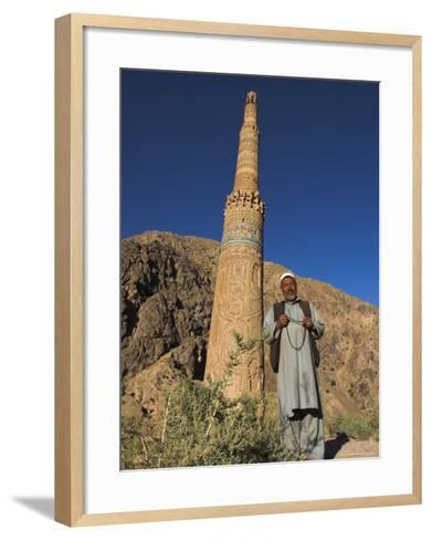 Afghani Man in Front of 12th Century Minaret of Jam, Ghor (Ghur, Afghanistan-Jane Sweeney-Framed Art Print